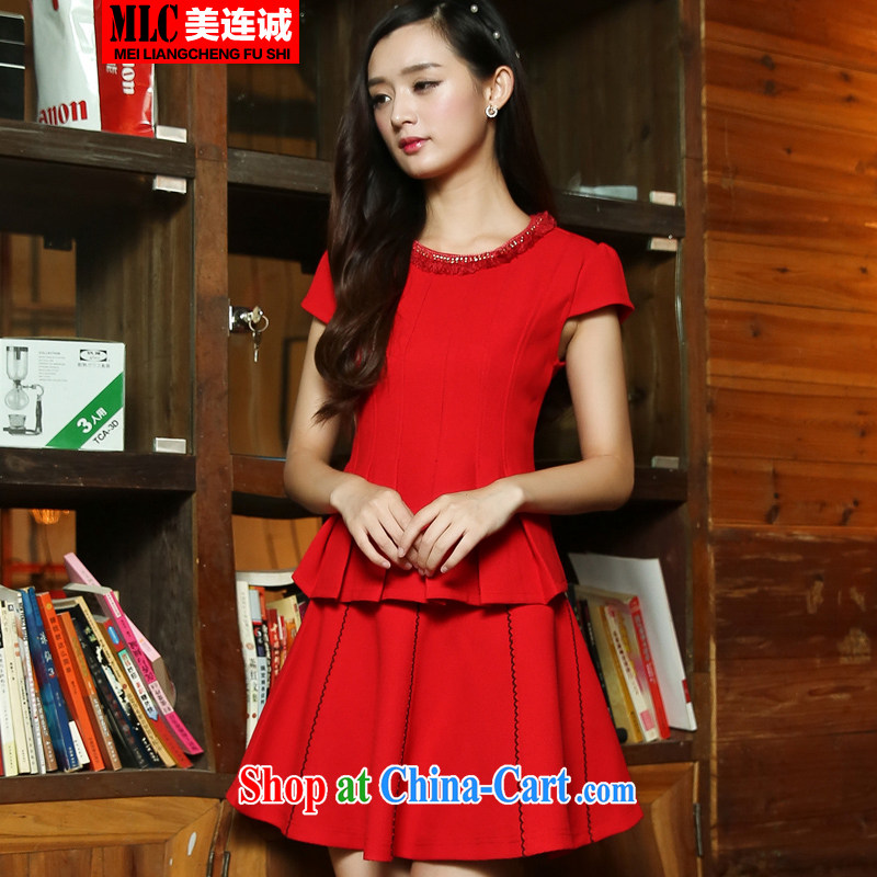 The US even good faith autumn 2014 new large red brides marriage Service serving toast lady sweet small incense culture quality 3-piece kit a complete the code set the skirt red XL