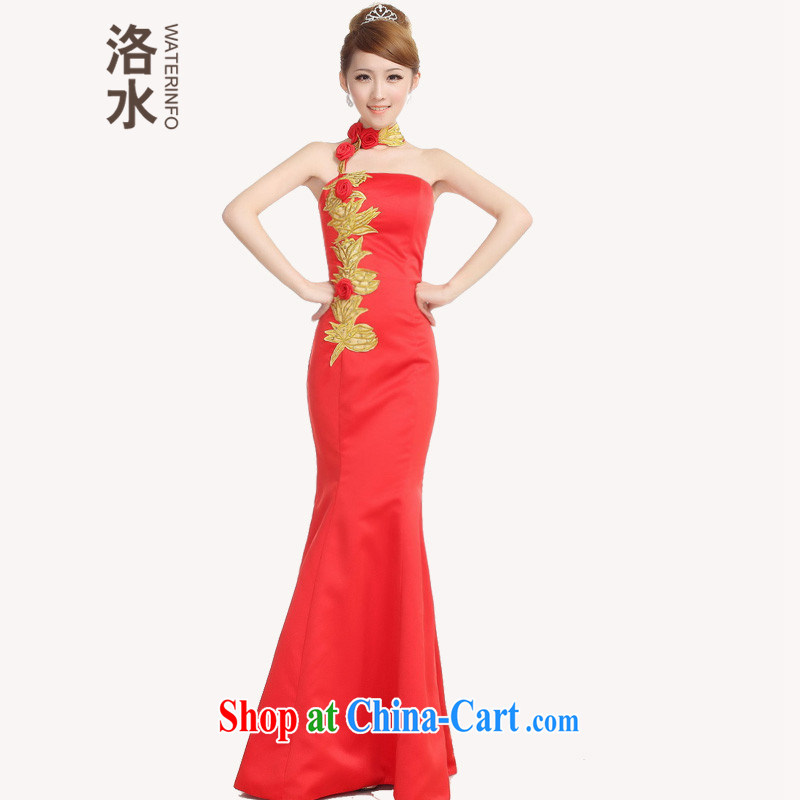 The Autumn new bride toast wedding dress back door red crowsfoot dress embroidery rose Chinese long improved cheongsam red XXL