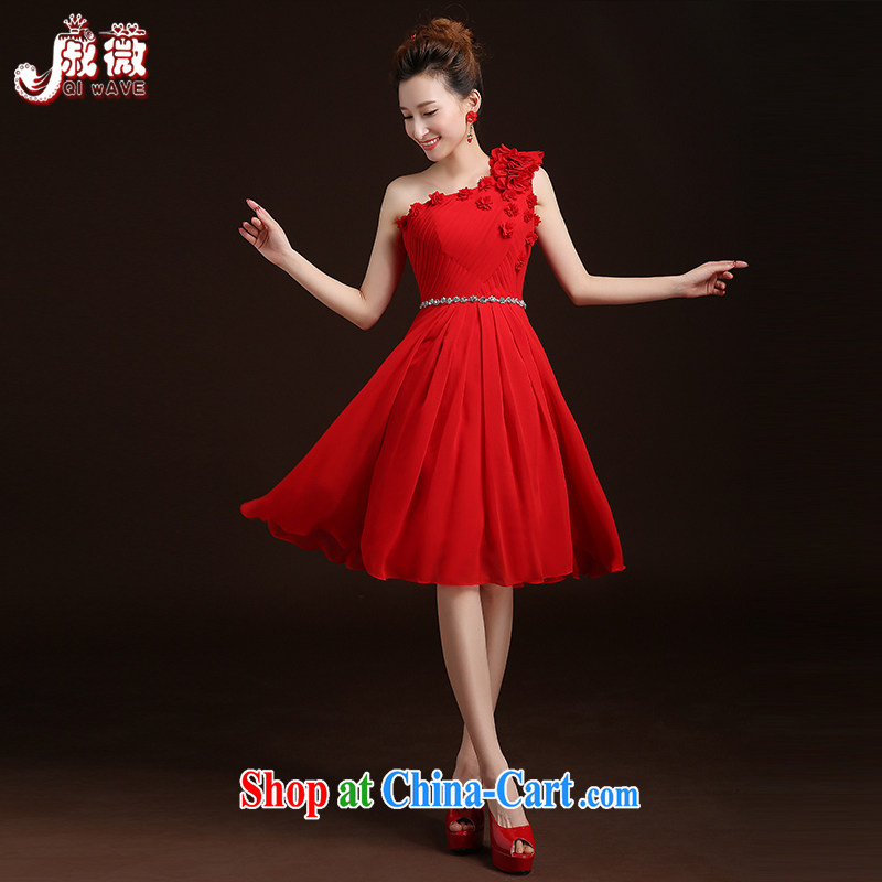 Qi wei served toast summer 2015 new bridal Red Beauty serving toast long banquet dress wedding wedding toast clothing dress single shoulder the shoulder wedding ceremony red long custom plus $30