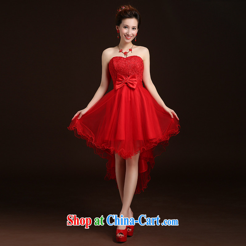 Qi wei served toast dress 2015 new summer marriages red lace short erase chest sexy toast clothing wedding dresses banquet dress red custom plus _30