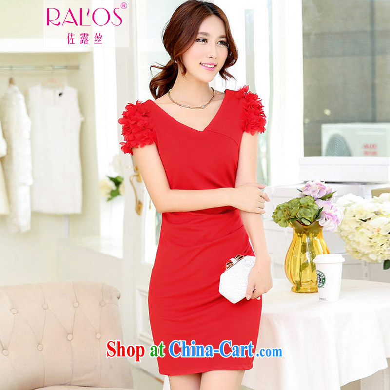 Jordan Ruth 2014 autumn and winter clothes new short-sleeved elegant dress bows dress stylish bridesmaid clothing red XXXL