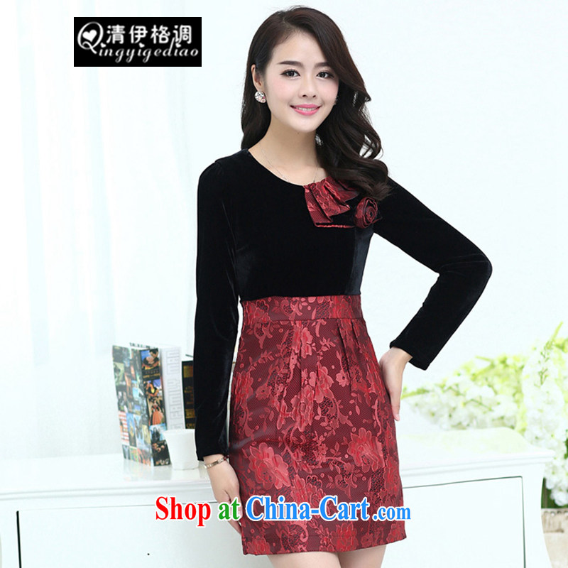 The style in the autumn 2014 the new women who are decorated with gold velour long sleeved red dress skirt the code dress QY 1054 photo color 3XL code