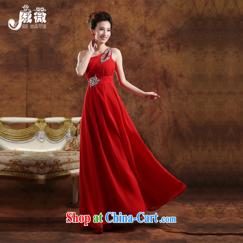 Qi wei summer new wedding dresses bridal toast service banquet dress marriage appearances dress red long graduation ball female Red custom plus $30