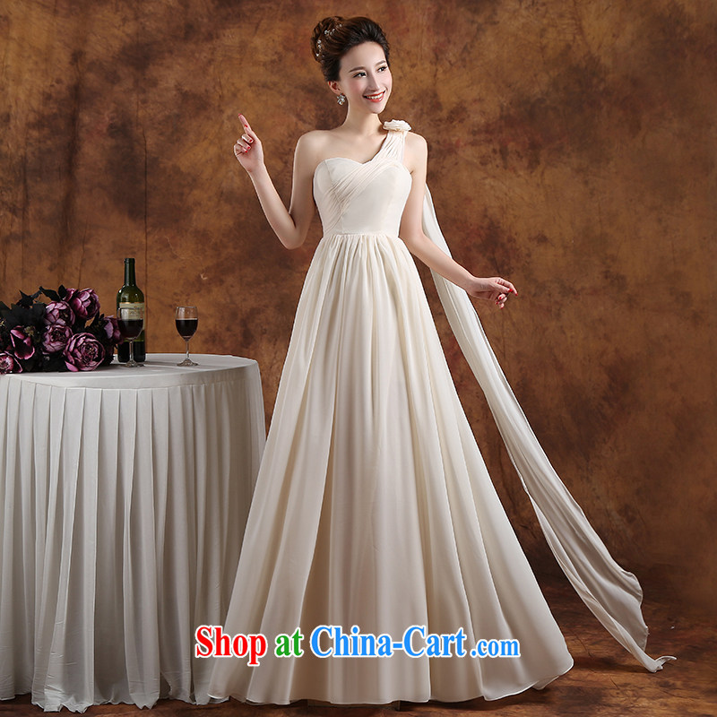 Qi wei summer 2015 new Korean bridal gown champagne color double-shoulder-length, cultivating bridesmaid sister serving the banquet dress uniform graduation girl champagne color A XL