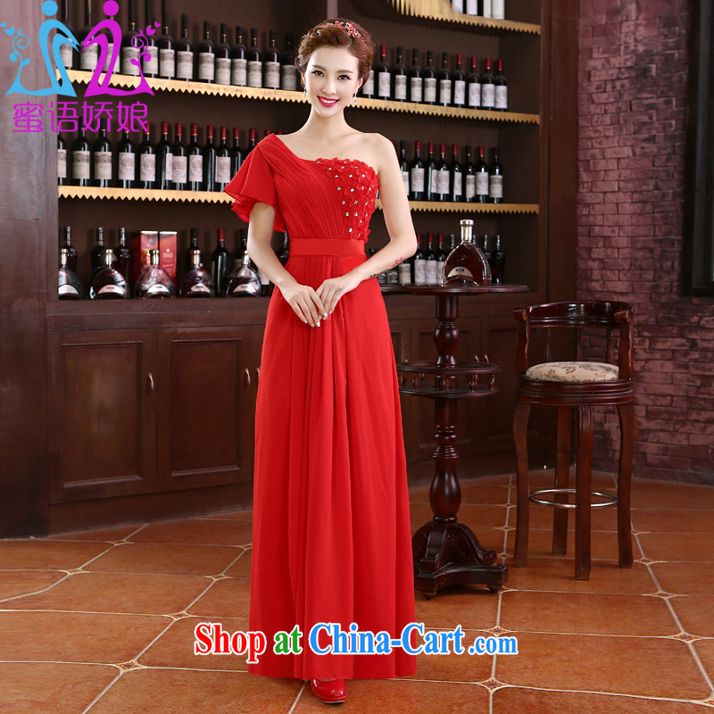 Honey, bride 2015 new single shoulder long red evening dress bride toast wedding service the code graphics thin Korean version with a sleek female Red tailored