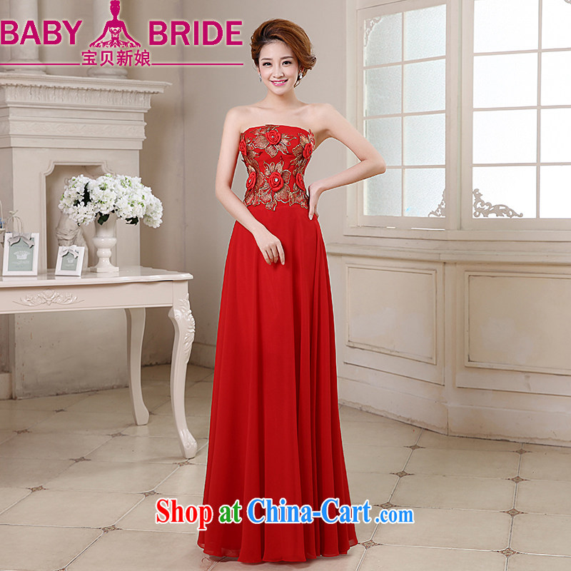 Baby bridal dresses 2014 new wedding toast wedding clothes show moderator Evening Dress graphics thin three-dimensional rose flowers erase chest gown red S