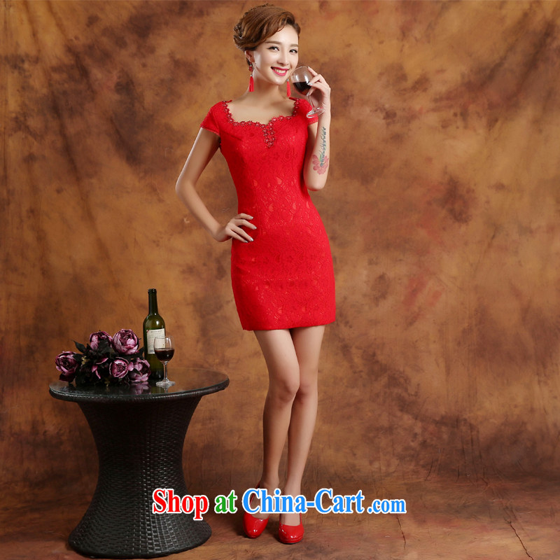 Wei Qi 2015 summer new dresses daily short lace dress retro improved stylish brides Chinese wedding dress summer female Red custom plus $30