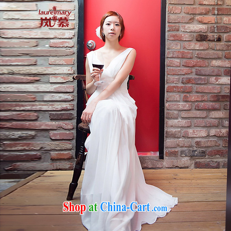 LAURELMARY sponsors the 2014 new Korean attractive dark V back exposed high waist small A snow is woven with evening dress white XL _chest 95 waist 79.