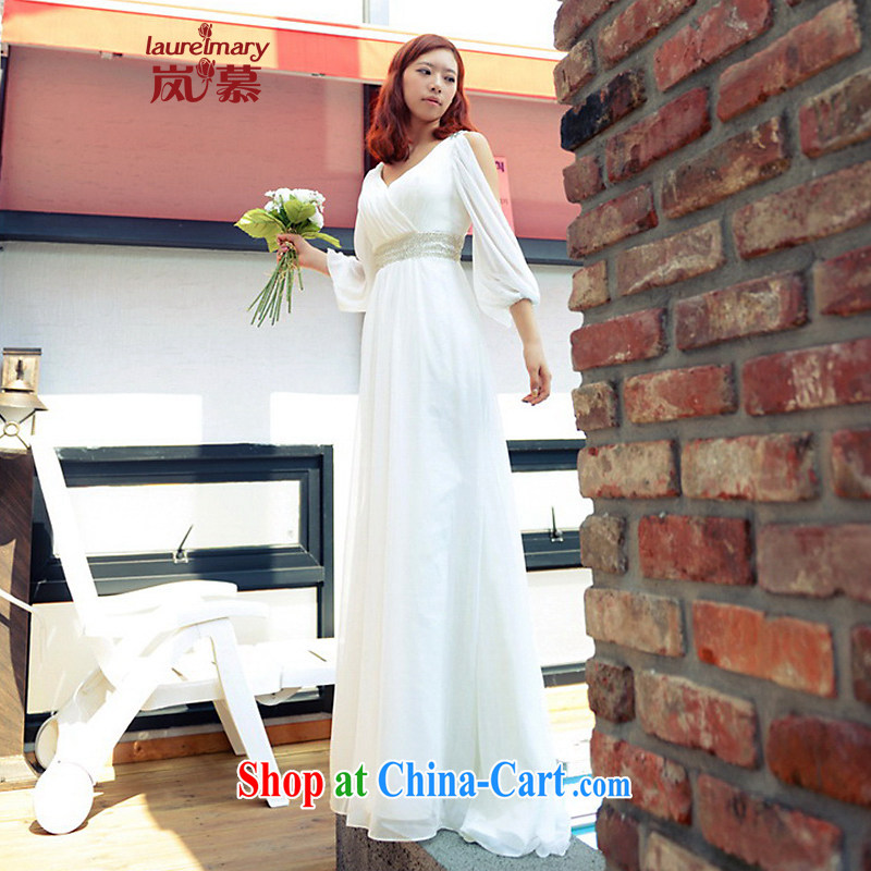 LAURELMARY sponsors the 2014 new Korean version only the US double-shoulder manually seamless beads snow woven with evening dress white XL (chest 95 waist 79.