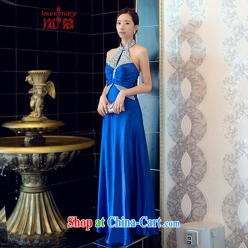 LAURELMARY sponsors the 2015 new elegant atmosphere hung also covered shoulders the waist beauty with toast serving evening dress blue XL (chest 95 waist 79.