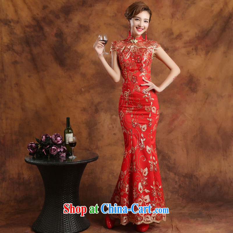 Wei Qi 2015 summer new bridal dresses red wedding toast clothing retro package shoulder-length, improved cheongsam dress banquet hosted at Merlion dress China wind female Red custom plus $30