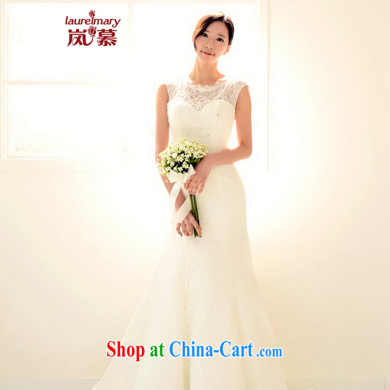 LAURELMARY sponsors the 2015 new Korean version elegant lace round-collar beauty graphics thin terrace back strap with tail dress bridal ceremony as the color XL _chest 95 waist 79.
