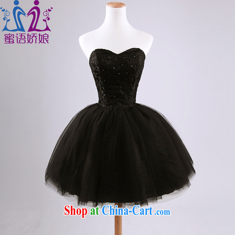 Honey, bride 2015 new small dress wiped his chest shaggy dress bride wedding toast serving graphics thin strap ball short black dress tailored