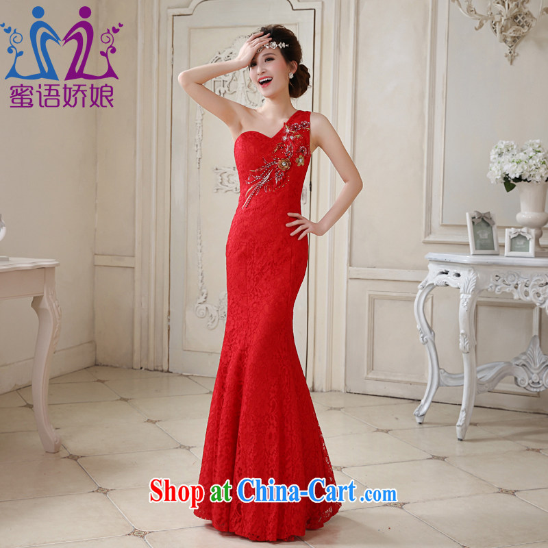 Honey, bride 2015 New Long lace beauty single shoulder dress bride wedding toast served at Merlion wedding dresses bridal red tailored