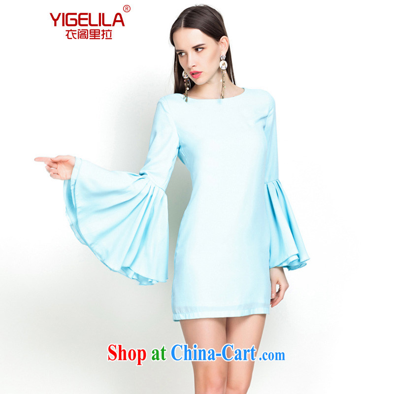 Yi Ge lire/YIGELILA name yuan style dress stylish banquet small dress flouncing 7 100 cuff hem fall and winter season long-sleeved dresses turquoise L 6542
