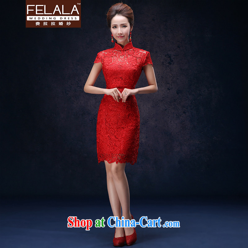 Ferrara lace red cheongsam dress code the Chinese 2015 stylish short marriages served toast girl M Suzhou shipping