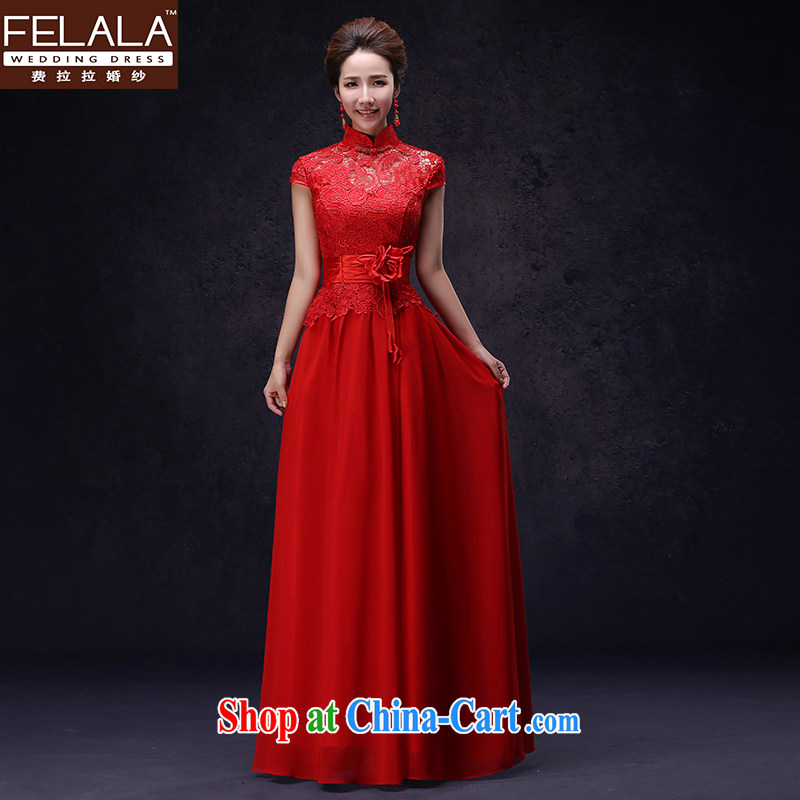 Ferrara exclusive fashion the betrothal red cheongsam dress long Chinese marriages served toast girl retro XL Suzhou shipping