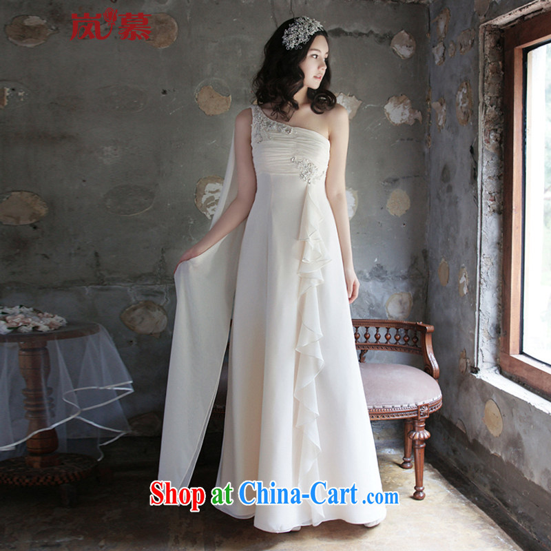 LAURELMARY sponsors the 2015 new Korean softness a shoulder seam bead folds the waist graphics skinny A swing with snow woven bridal dresses such as the light champagne color custom size