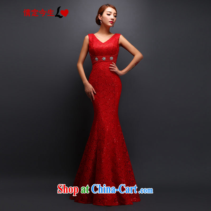 Love Life 2015 deep waters V soluble lace field shoulder new wedding dresses bridal toast clothing bridesmaid clothing red XXL