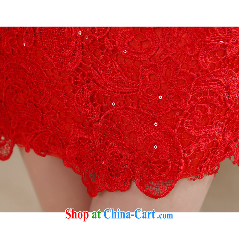 Hi Ka-hi 2014 summer new short, for the evening dress bridesmaid dress China wind lace Openwork embroidery NF 29 - 1 red left size tailored hi Ka-hi, shopping on the Internet