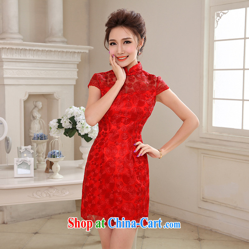 Hi Ka-hi 2015 spring new short, for the evening dress bridesmaid dress China wind lace Openwork embroidery NF 29 - 3 red left size tailored