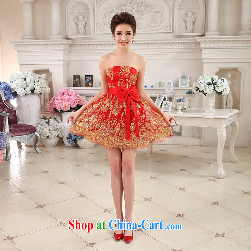 Hi Ka-hi-hi Ka-hi 2014 summer new, short, small Evening Dress bridesmaid dress bow-tie lace gold thread embroidery NF 30 red left size tailored