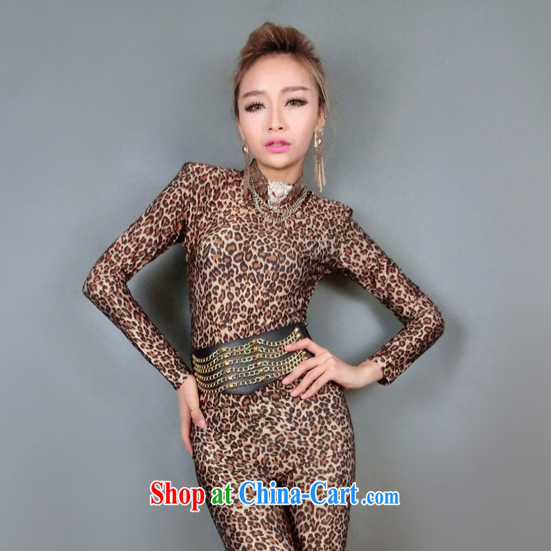 According to dance Hip Hop new Europe DS ??? show clothing for dance clothing female singer atmospheric stage Leopard-yi #8280 Leopard split are code