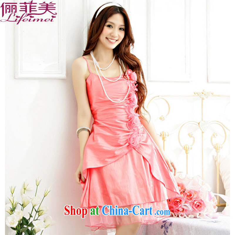 Philippines contributed US mm thick strap with star in Europe and America, the Chest floral beauty waist-annual dinner show A field dress Evening Dress orange color code F