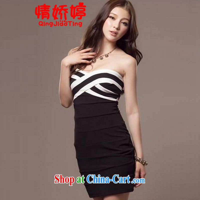 and aviation-ting 2014 summer streaks of solid sense beauty package and wrapped chest bare chest small dress black are code