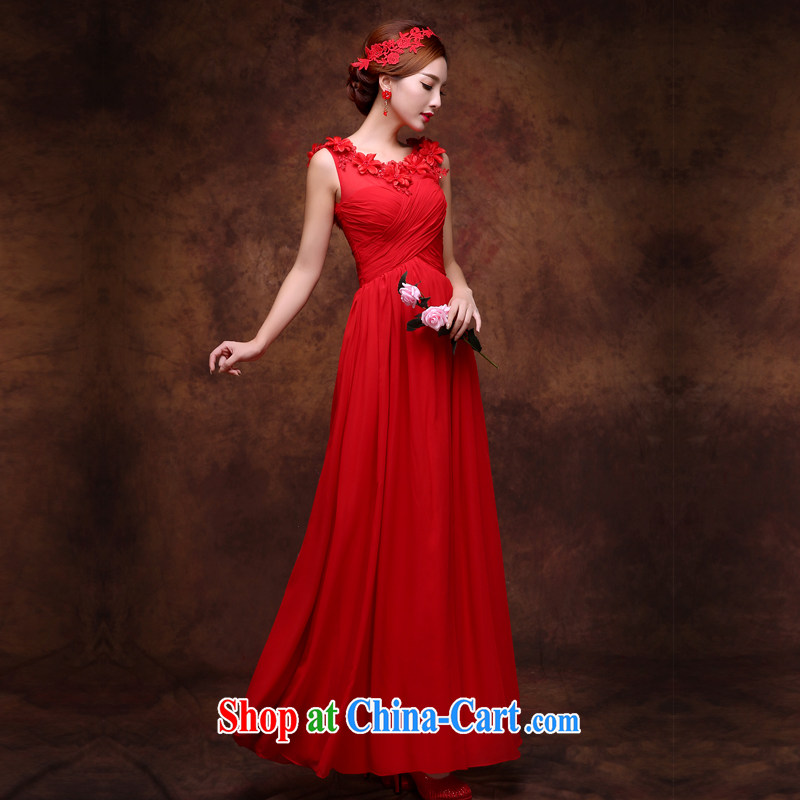 Qi wei bridal dresses summer 2015 New red long evening dress Evening Dress wedding toast serving pregnant women the code binding with double-shoulder dress dress red L