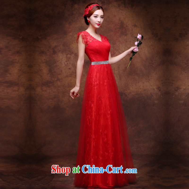 Wei Qi 2015 new wedding dresses bridal wedding toast serving red long dual-shoulder bows Service Annual banquet dress dresses with straps at Merlion dress red XL, Qi wei (QI WAVE), online shopping