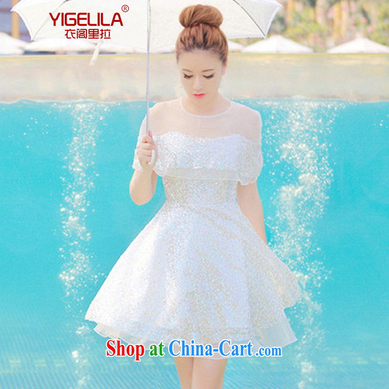 Yi Ge lire _Upgrade -- bridesmaid toast clothing staple beads, short banquet wedding dresses dress beauty graphics thin bridesmaid dress 6548 bridesmaid dress M