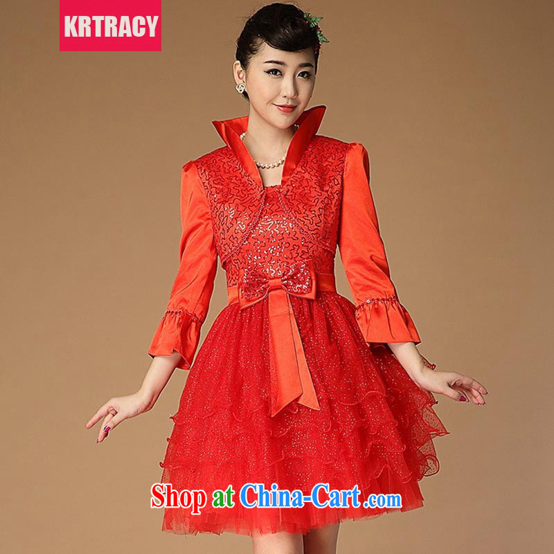 KRTRACY autumn 2015 the new retro China wind red bows Service Bridal clothing Evening Dress small dress BLLS 1009 red L