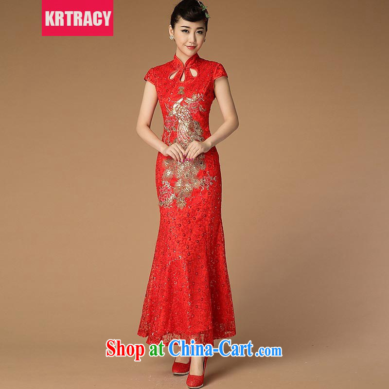 2015 KRTRACY new Ethnic Wind and Openwork lace embroidery cheongsam beauty bride Service serving toast dress BLLS 3399 red L