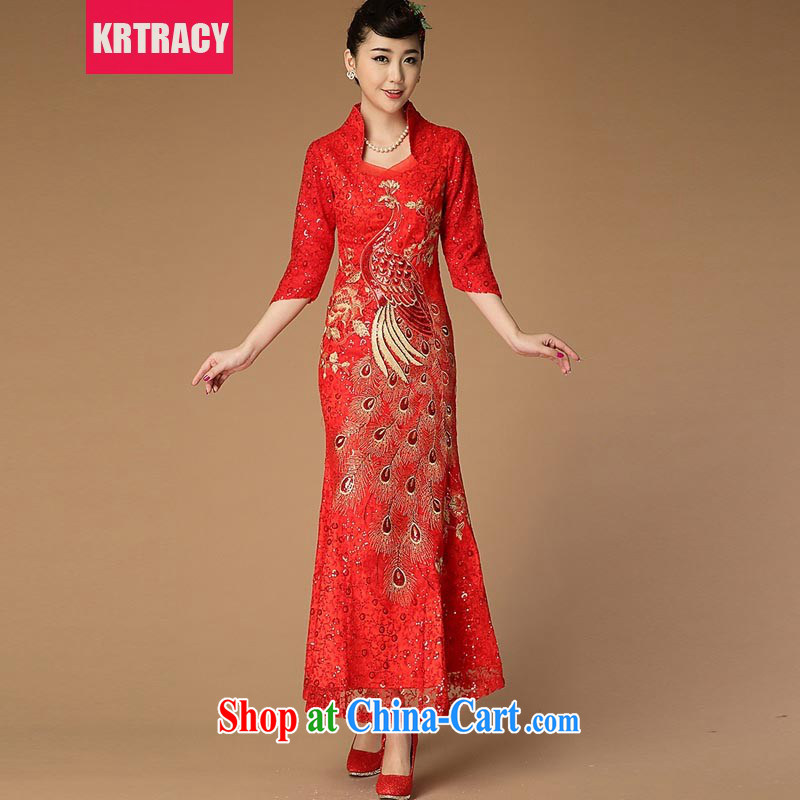 2015 KRTRACY new Ethnic Wind and Openwork lace embroidery cheongsam beauty red bows service dress BLLS 9488 red L