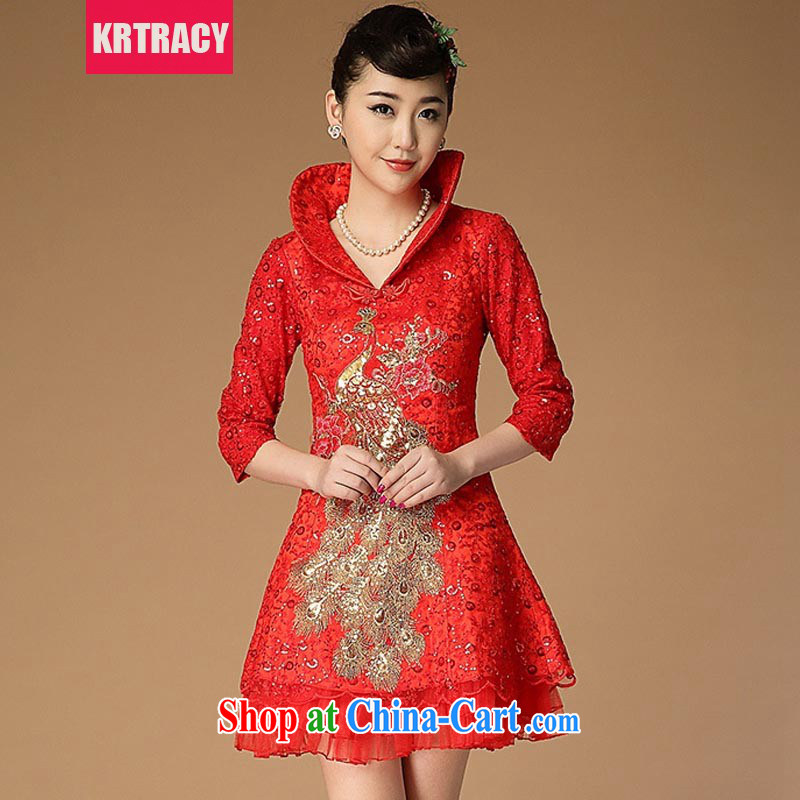 KRTRACY autumn 2015 new retro Chinese Yuan cheating sanding disc-chu, dresses dresses bridal clothing BLLS 7666 red L