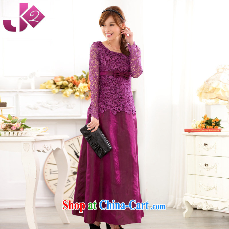 JK 2. YY Western Wind hosted Evening Dress dress long-sleeved lace Openwork large yards, annual evening dress dresses purple XL 3 175 recommendations about Jack