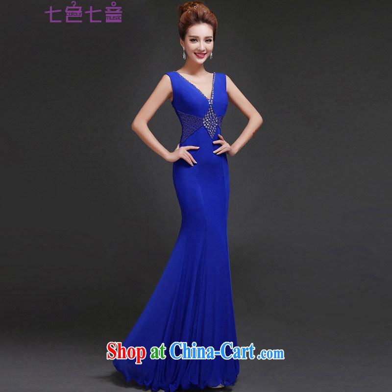7 color 7 tone 2015 new ladies dress long crowsfoot banquet moderator Sau San shoulders, sense V L dress 019 blue XL
