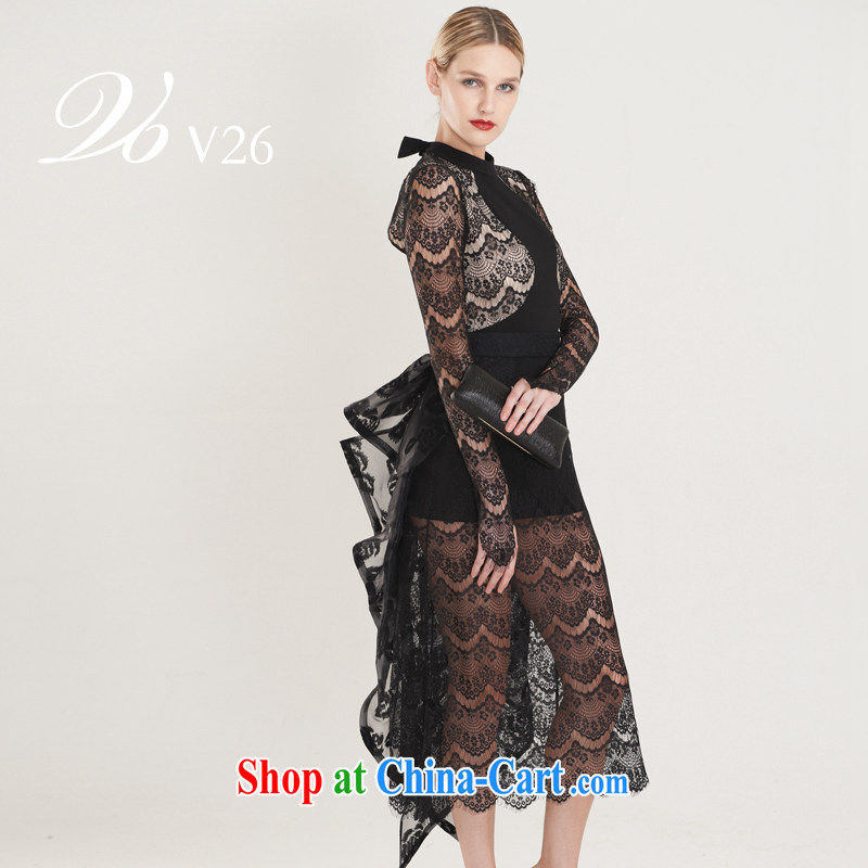 26 V high-end custom lace hook flower Openwork back exposed long-tail Tuxedo Black
