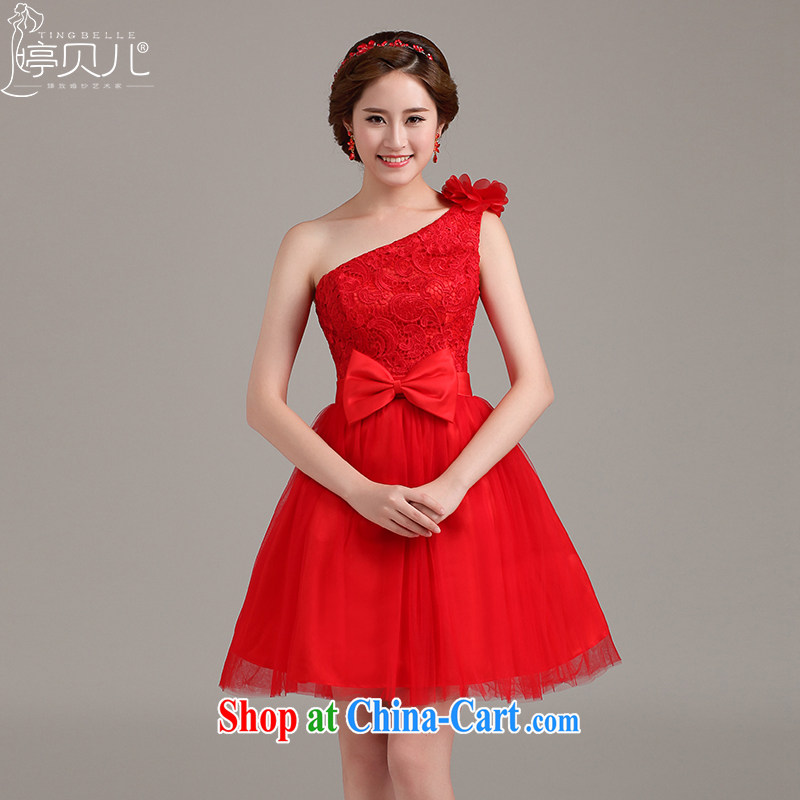 2015 new dress stylish single shoulder Evening Dress bridesmaid short red bridal wedding lace flowers toast serving red XXL
