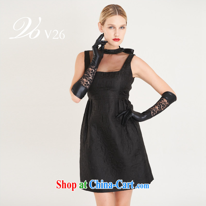 26 V light luxury Deep v back exposed minimalist side the forklift truck can be custom dress/evening dress 2014 autumn-black