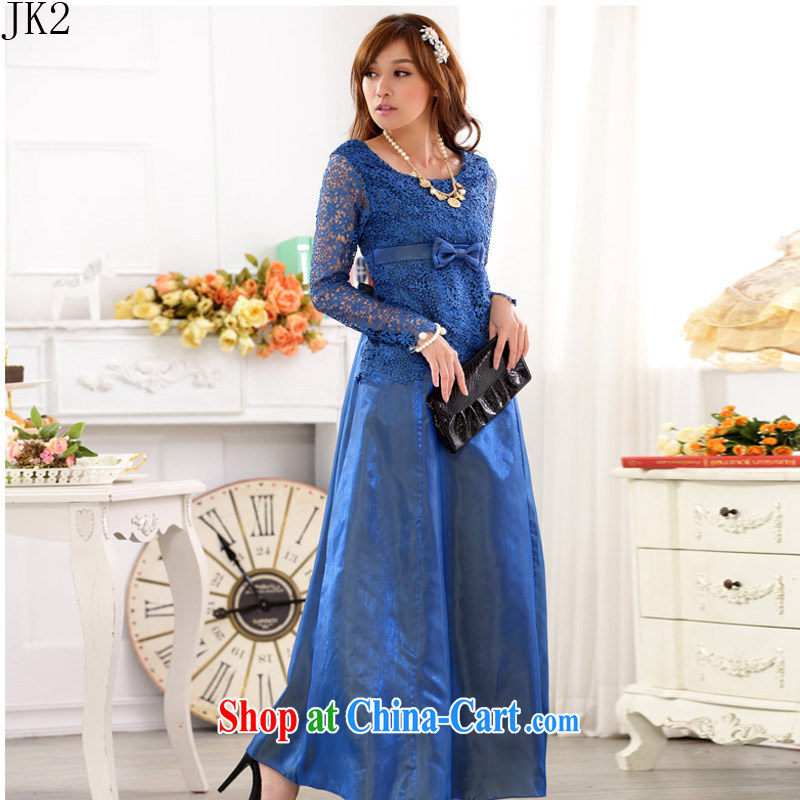 In Europe, the show skirts long-sleeved lace Openwork larger long evening dress JK 2 9720 blue XXXL
