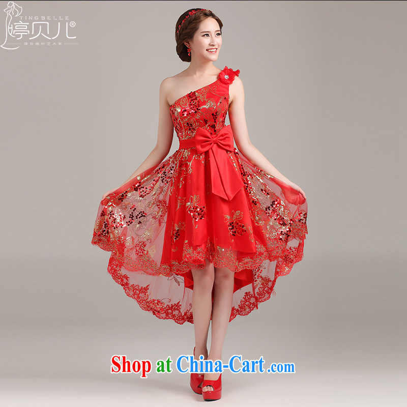 The short long dress 2015 new bridesmaid clothing lace short marriages served toast red wedding evening dress red XL