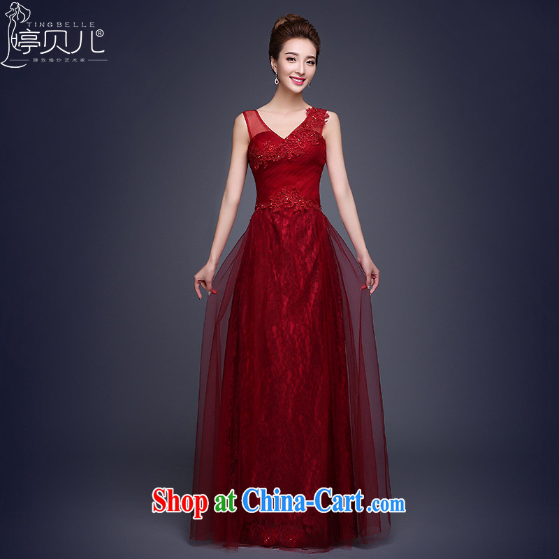 Ting Beverly served toast cultivating new 2015 new spring and summer evening dress long red bridal Wedding Fashion bridesmaid clothing moderator dress dark red XL
