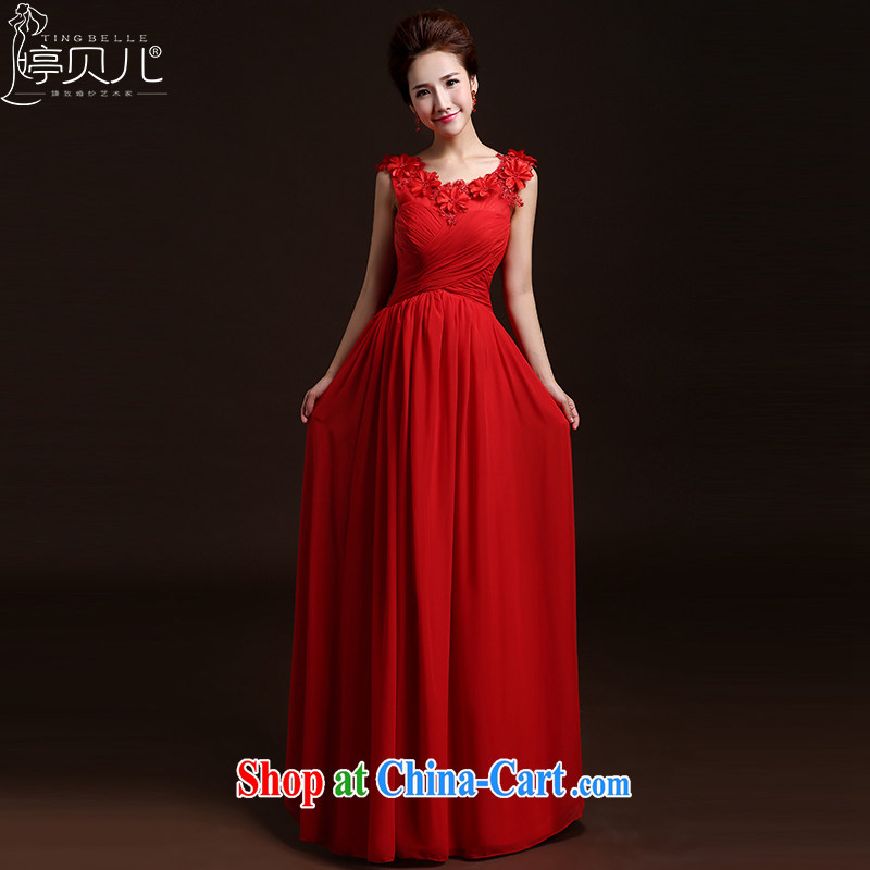 Ting Beverly 2015 new spring and summer wedding dresses new bridal wedding dress beauty stylish shoulders serving toast long bridesmaid clothing red M