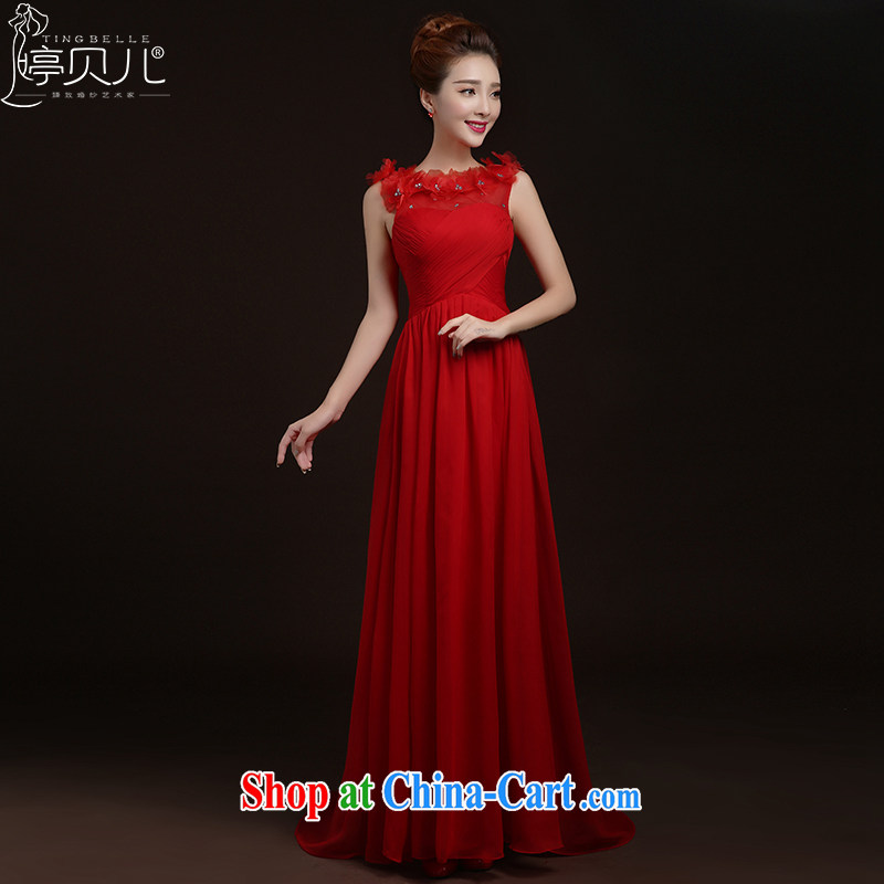 Ting Beverly 2015 new spring and summer red married women toast serving double-shoulder lace beauty bare chest tail stylish dress Evening Dress red L