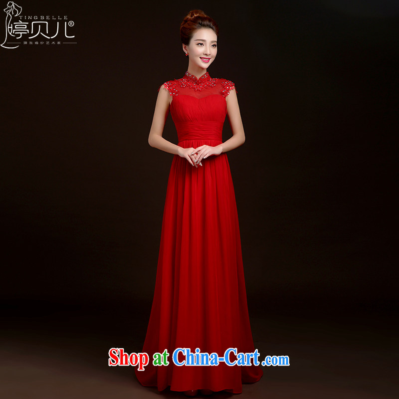 Ting Beverly toast Service Bridal Fashion 2015 new spring and summer long, marriage dresses with bridesmaid clothing Korean red banquet dress female Red XXL