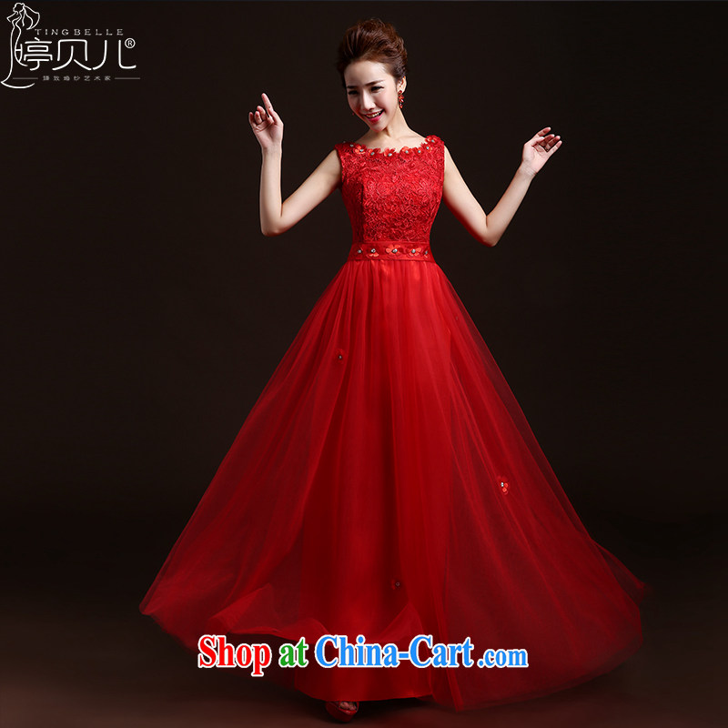 Ting Beverly toast Service Bridal Fashion 2015 new spring and summer red long lace bridal wedding dress autumn and winter banquet dress red XXL
