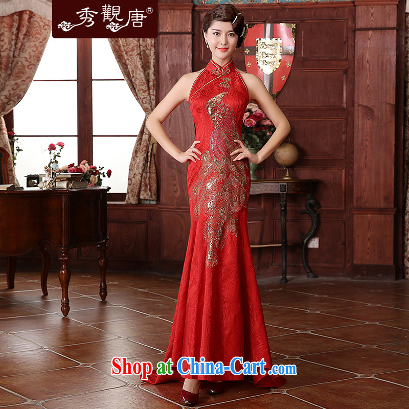 The CYD HO Kwun Tong' Bong-love winter clothes bridal dresses 2015 wedding celebration back door bows two-piece QX 4939 red XXL