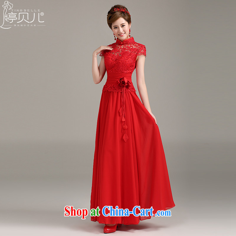 Ting Beverly Evening Dress new 2015 spring and summer stylish lace-up collar bows serving long cultivating double-shoulder dresses dress red XXL